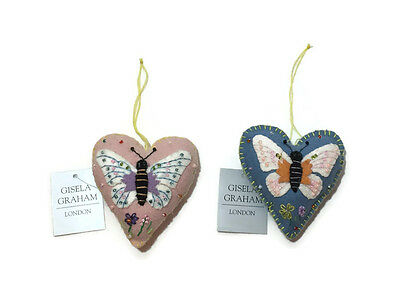 Gisela Graham Felt Stitched Heart with Appliqué Butterfly Blue//Pink 8cm