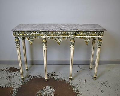 French Neo Classical Antique Style Marble and Gesso Console / Hall Table