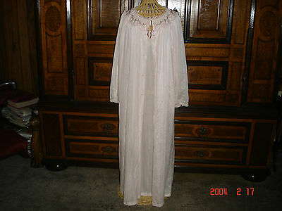 Vintage Sears Women's Pink Long Nightgown & Robe-Long Sleeved 100% Nylon M 36