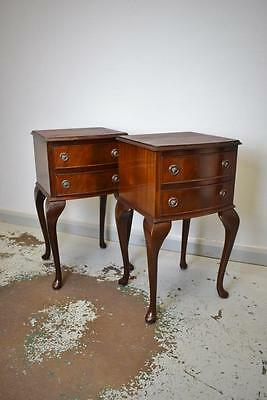 Pair of Antique Style Georgian Regency Mahogany Two Drawer Bedside Chests