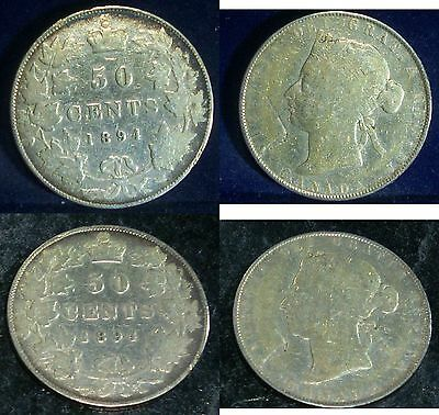 1894 Canada 50 cents -SCARCE LOW MINTAGE,Queen Victoria Silver Coin
