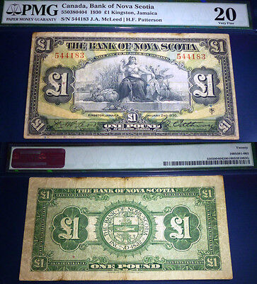 1930 Bank of Nova Scotia Jamaica £1 , Pound PMG VF20 ,Scarce Banknote