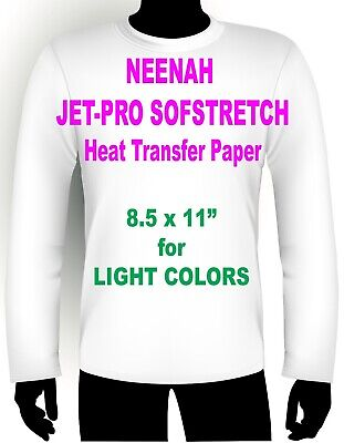"Sofstretch Inkjet Iron On Heat Transfer Paper Neenah Jet Pro Ss 8.5 X 11"" 100 Pk"