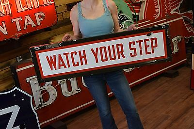 New York City Ny Subway Collectible Red White Porcelain Watch Your Step Sign Nyc
