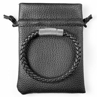 Men's Black, Premium Nappa Leather Braided Bracelet - Any Size - Stainless Steel