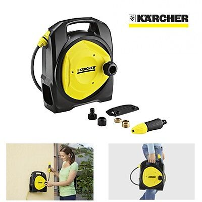 Kärcher Compact Garden Hose & Reel Box Set, Wall Mount with Adjustable Nozzle