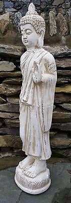Tall Standing Thai Buddha Ceramic Garden Outdoor Indoor Statue Ornament  Beige