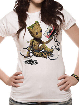 Guardians of the Galaxy 2 Baby Groot Tape Tangled Official White Womens T-shirt