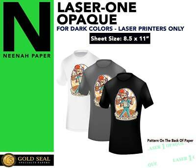 Laser 1 Opaque Dark Shirt Heat Press Machine Transfer Paper 8.5 x 11 -25 Sheets