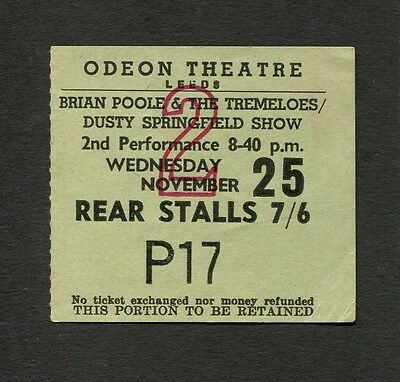 1964 Dusty Springfield Brian Poole Tremeloes concert ticket stub Odeon Leeds UK