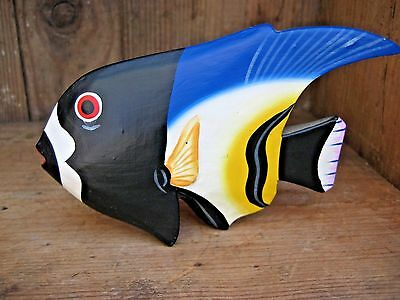 Mini Hand Painted Wood Angel Fish Decor Display Collector Multi Color