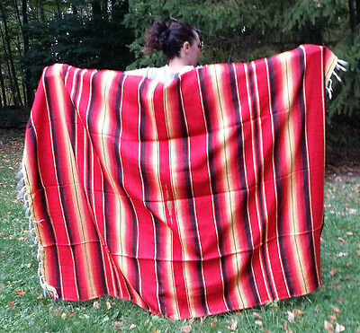 """Mexican Serape Sarape Fringed Blanket Bedspread 84"""" x 60"""" Fall Colors Red Yellow"""
