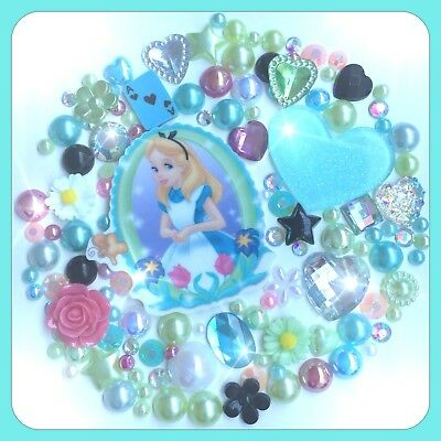 Disney Alice In Wonderland Theme Gems & Pearls flatbacks For Decoden & Crafts #2