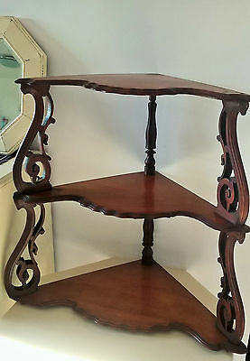 Walnut ornate corner shelf unit display