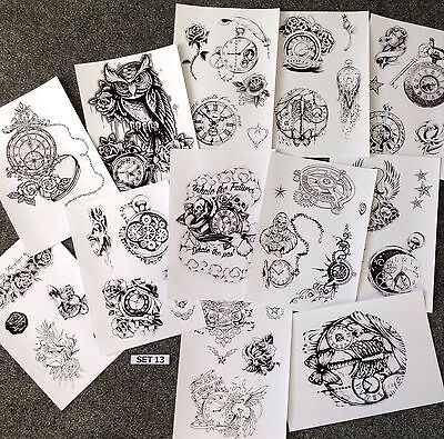 Tattoo Flash Design Sheets. Roses & Watches Ect...