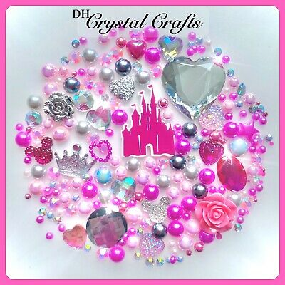 Disney Princess Castle Theme Flatback Gems Cabochons & Pearls In Hot Pink #4