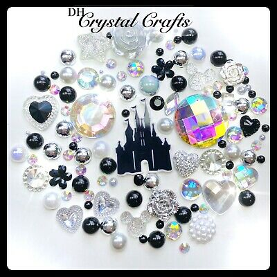 Crown Theme Hot Pink Silver /& Aurora Borealis Cabochons Gems Pearls flatbacks #1