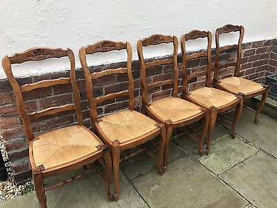 6 X french oak dining chairs