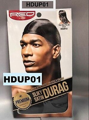 Red By Kiss Premium Quality Silky Satin Durag Black Hdup 01