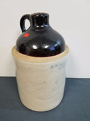 "Old 12"" Whiskey Jug Two Tone Brown Glazed"