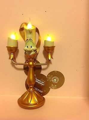 Disney Parks Lumiere Beauty and the Beast Light Up Christmas Ornament NWT