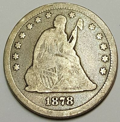 1878 CC 25C US Carson City Seated Liberty Quarter Antique U.S. Silver Currency