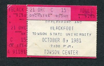 Original 1981 Def Leppard Blackfoot concert ticket stub Towson MD High n Dry