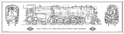 "Texas & Pacific ""Texas"" 2-10-4 Type Locomotive Drawing - 3 Views"