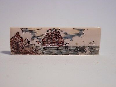 Artist Signed Scrimshaw Whaling Nautical Scene on Bone in Color Tie Bar Clip