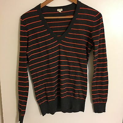 J CREW FACTORY Stripe V Neck Sweater Women s Size Small Gray Red ... 9825382197