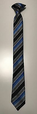 Boys Clip On Kids Neck Tie Blue Silver Black Striped EUC