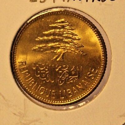 1961 Lebanon 25 Piastres Bronze-Aluminum Coin with Holder thecoindigger