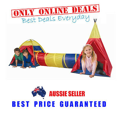 Children Kids Toddlers Play Tent Cubby House Tunnel Gym Teepee Toy