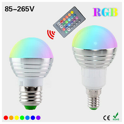 E27 5W RGB LED bulb Light 16 Color Change lamp AC 220V + IR Remote Controller