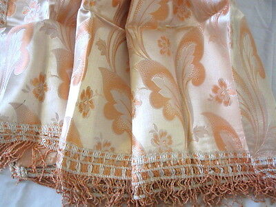 ANTIQUE VINTAGE APRICOT BROCADE TABLECLOTH WITH FRINGE 1920's