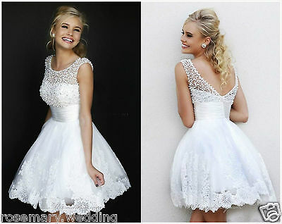 New White Lace Mini Wedding Dress Bridal Gown Stock  Size 6 8 10 12 14 16