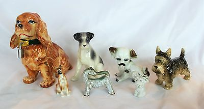 Vintage Mixed LOT of Ceramic DOG Miscellaneous Figurines + Bank