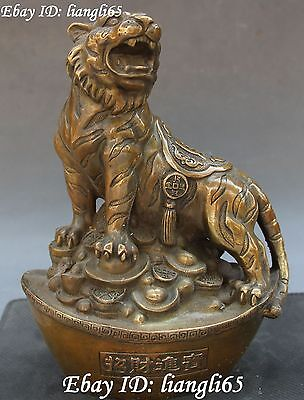 "9"" Chinese Bronze Wealth Money Yuanbao Zodiac Year Tiger Tigers Animal Statue"