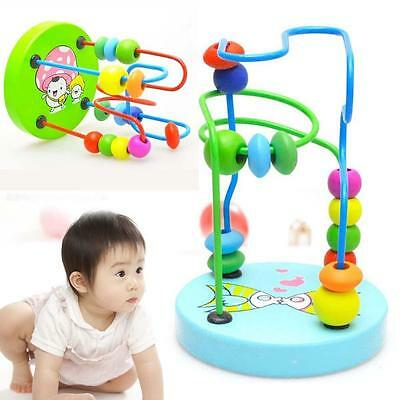 Children Kids Baby Colorful Wooden Around Beads Educational Toy YAe