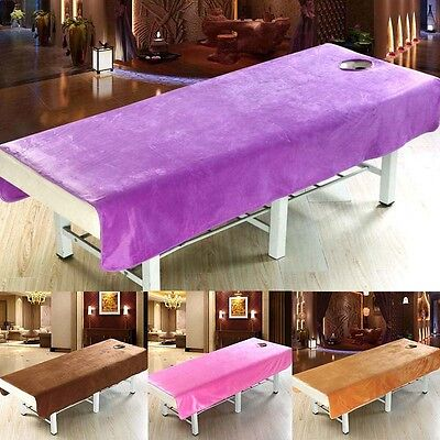 Solid Color Beauty Salon Massage SPA Treatment Bed Table Cover Sheets With Hole