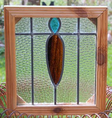 "Vintage Old English Leaded STAINED GLASS Window Wood Frame 14"" x 13"""