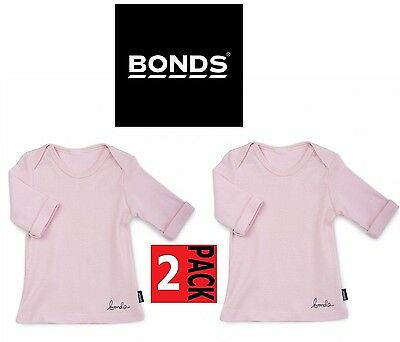 2 x BONDS BABY GIRLS LONG SLEEVE TOP Newborn Newbie 0000 Pink Tee Basic SALE