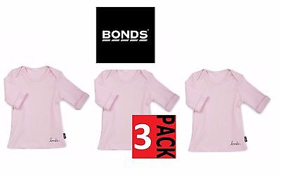 3 x BONDS BABY GIRLS LONG SLEEVE TOP Newborn Newbie 0000 Pink Tee Basic SALE
