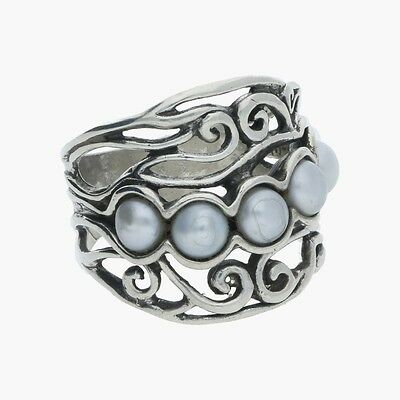 shablool / sterling silver israel spiraled pearls / ring 7.25