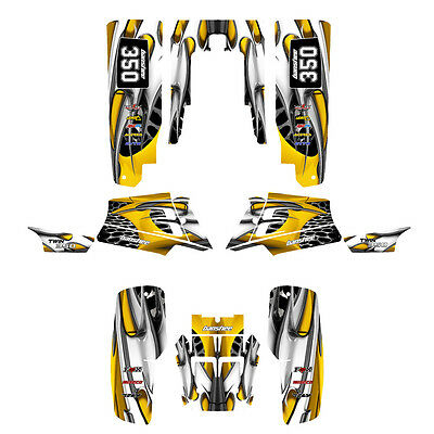 Yamaha Banshee 350 graphics custom full coverage sticker kit #4444 Yellow