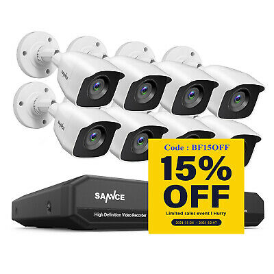 SANNCE 5in1 1080P HDMI 8CH DVR 720P Outdoor CCTV Home Security Camera System P2P