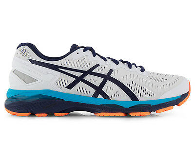 ASICS Men's GEL-Kayano 23 Shoe - White/Indigo Blue/Hot Orange