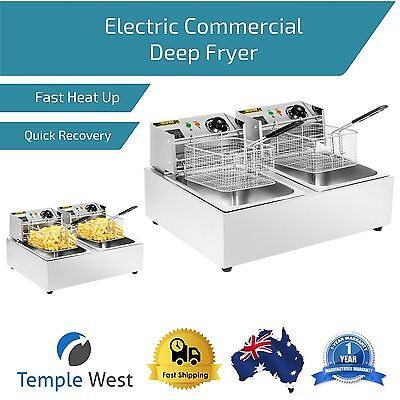 Electric Commercial Deep Fryer 20L Dual Tank Stainless Steel Basket Cafe Chips