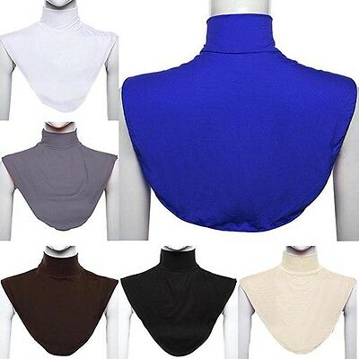 Womens False Collar Hijab Moslem Islamic Pure Color Neck Cover Loop Scarf Worthy