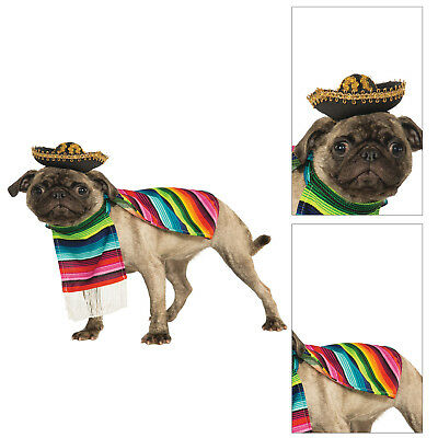 Rubies Pet Shop Mexican Serape Fancy Dress Costume Poncho & Sombrero Dog Outfit